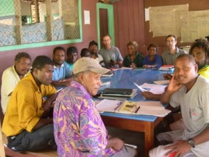 Baetolau Farmers Association meeting at Silolo in North Malaita.  Chairman, Laurence Aldo in front.